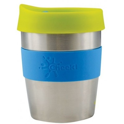 Cheeki Stainless Steel Coffee Cups 8 oz (235 ml) - Silver/Blue