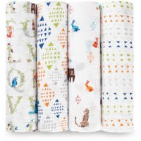 aden + anais 4 Pack Swaddling Wraps Paper Tales