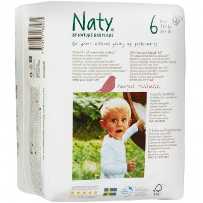Naty by Nature Babycare Size 6 (16+kg, 35+ lbs.) 18 pcs